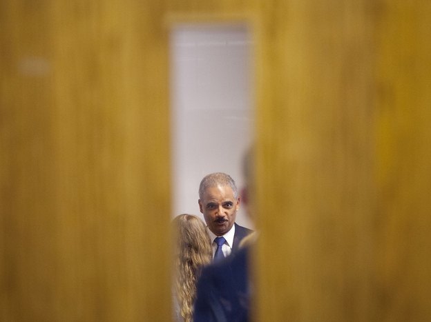 Attorney General Eric Holder participates in a closed-door meeting Wednesday with students at St. Louis Community College, Florissant Valley.