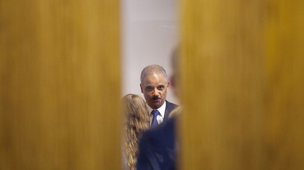 Attorney General Eric Holder participates in a closed-door meeting Wednesday with students at St. Louis Community College, Florissant Valley. (AP)