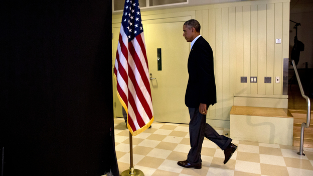 President Obama leaves after making a statement Wednesday about the killing of journalist James Foley in Syria. The president said the U.S. would continue to confront Islamic State extremists despite the brutal murder. (AP)