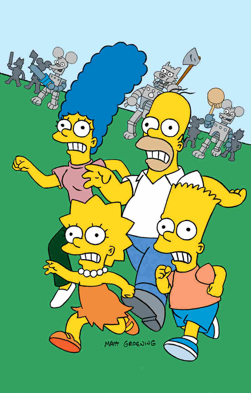 The Simpsons family in the Itchy and Scratchy Land episode in 1994.