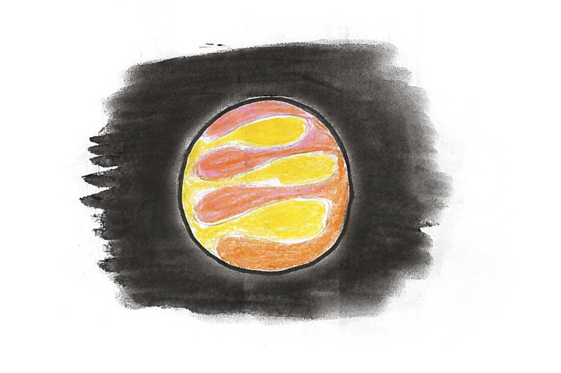 A yellow and pink planet with orange swirls.