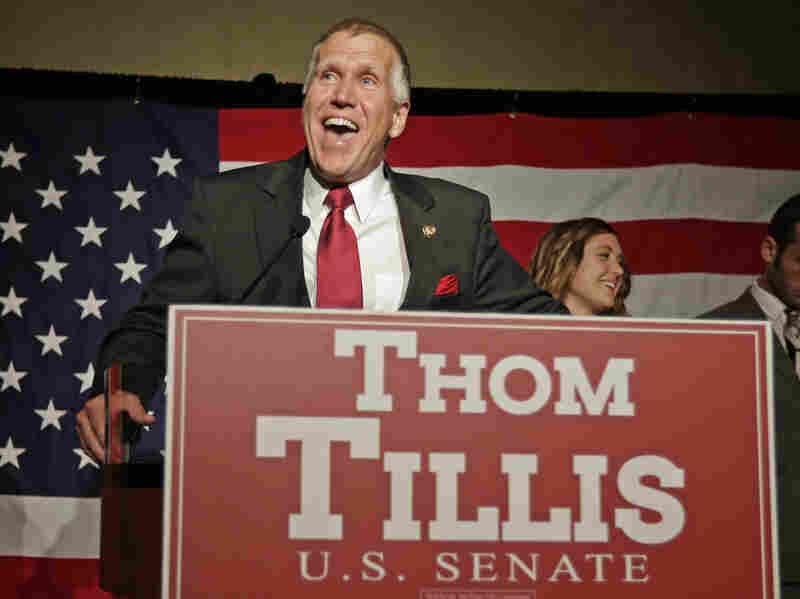 Thom Tillis speaks in May to supporters at an election night rally in Charlotte, N.C., after winning the Republican nomination for the U.S. Senate.