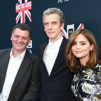 Doctor Who executive producer Steven Moffat (left) appears with series stars Peter Capaldi and Jenna Coleman in New York City.