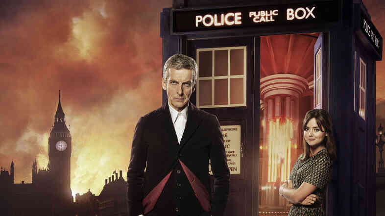Peter Capaldi, left, and Jenna Coleman star as The Doctor and Clara Oswald on the BBC science fiction drama Doctor Who.