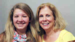 """Erika Kalberer (left) and her mother, Kris. Their family has been living out of their car. Kris tells her daughter, """"I don't think sometimes you know how strong you are."""""""