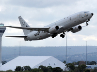 A U.S. Navy P-8 Poseidon aircraft takes off from Perth International Airport during the search for Malaysia Airlines MH370. The same general type of aircraft was involved in a