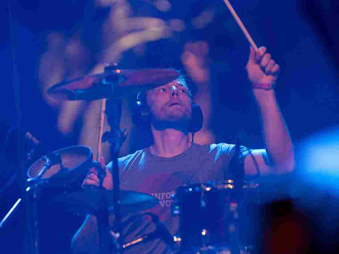 Drummer Joe Easley with The Dismemberment Plan performs during Coachella Valley Music & Arts Festival Weekend 2 on April 19, 2014