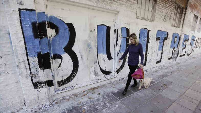 "A woman in Buenos Aires walks with her dog past a mural that reads ""Vultures"" in Spanish. The mural is a reference to the dispute between the Argentine government and U.S. hedge funds."