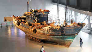 This fishing boat draped with sick animals is the signature piece of The Ninth Wave, an exhibit by artist Cai Guo-Qiang that opened at Shanghai's Power Station of Art this month.