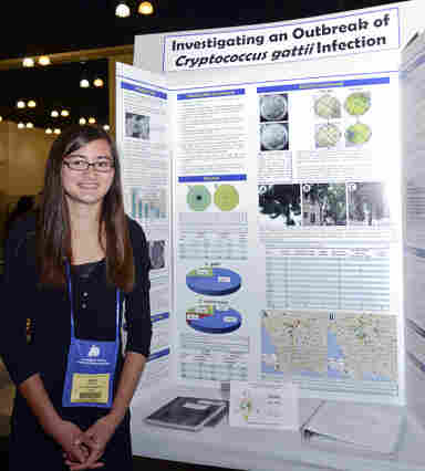 Elan Filler at the LA County Science and Engineering Fair with her project on Cryptococcus gattii.