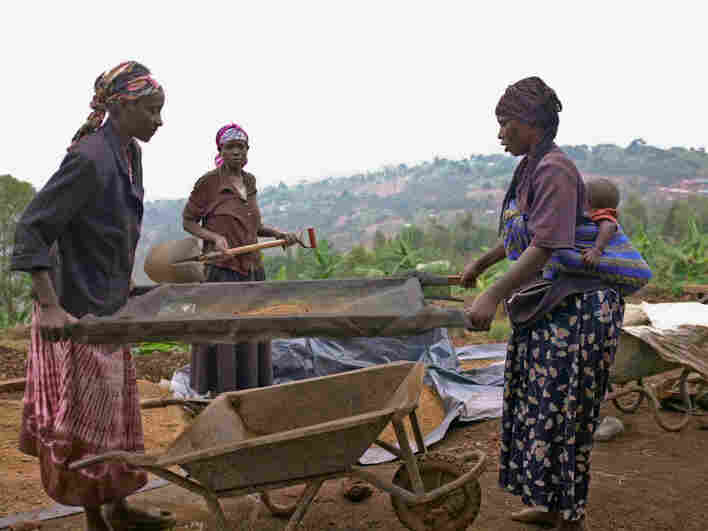 """Women inspect clay that will be used for a new floor near Masoro, Rwanda. """"Sieving out rocks and clumps allows the floor to have a smooth and fine surface,"""" says Gayatri Datar, whose NGO, EarthEnable, is installing new, earthen floors in homes where ordinary dirt floors pose health risks."""