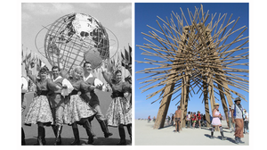 Dancers pose in front of the Unisphere at the 1964 New York World's Fair, and people at Burning Man walk past the Starry Bamboo Mandala.