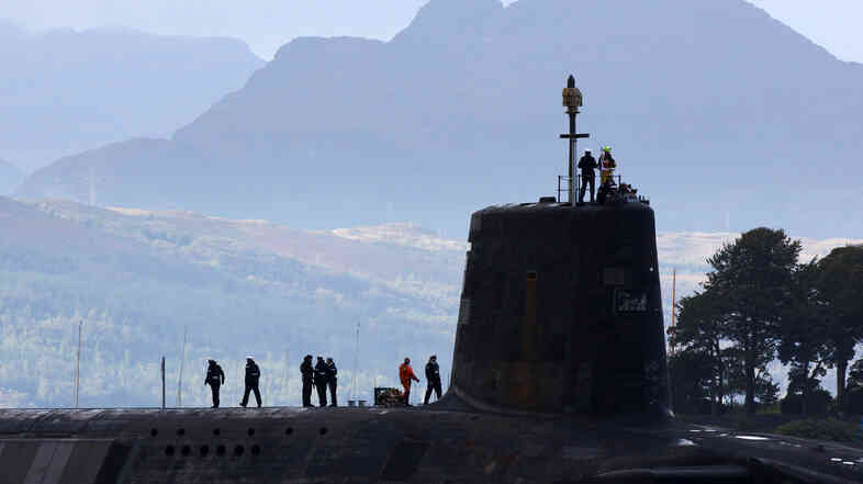 A trident submarine makes it's way out from Faslane naval base in 2009. Scotland votes on whether it wants independence next month, raising questions about the future of Britain's naval base, including its nuclear subs.