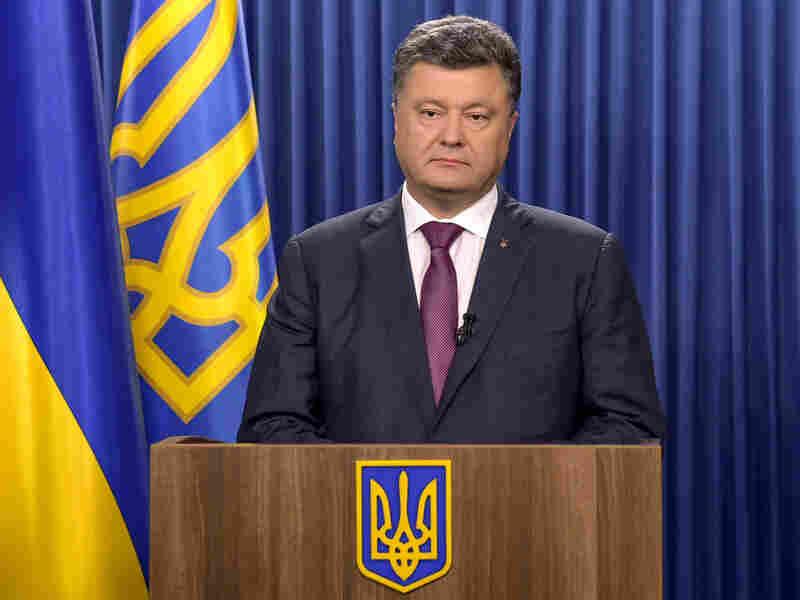 Ukrainian President Petro Poroshenko delivers a speech in Kiev on Monday dedicated to his decree to dissolve parliament.
