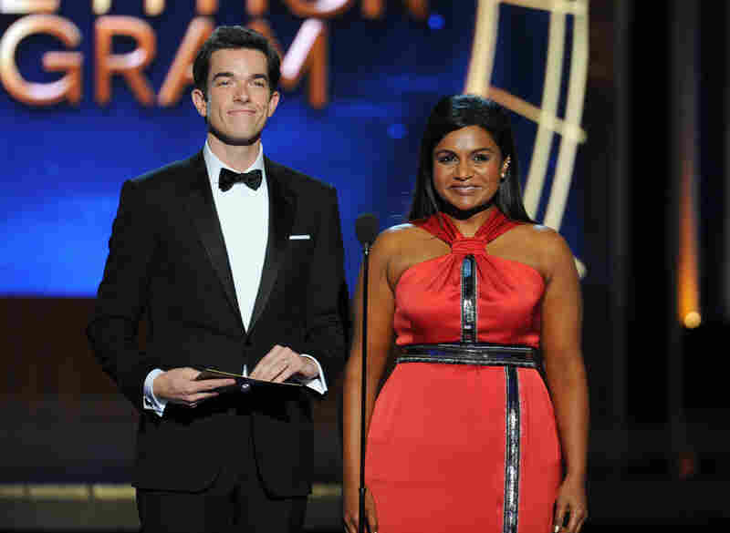 John Mulaney and Mindy Kaling present the award for outstanding reality show to CBS's Amazing Race.