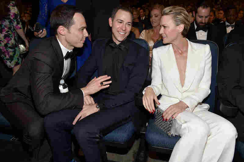 Jim Parsons of The Big Bang Theory (left), Todd Spiewak and Robin Wright of House of Cards.