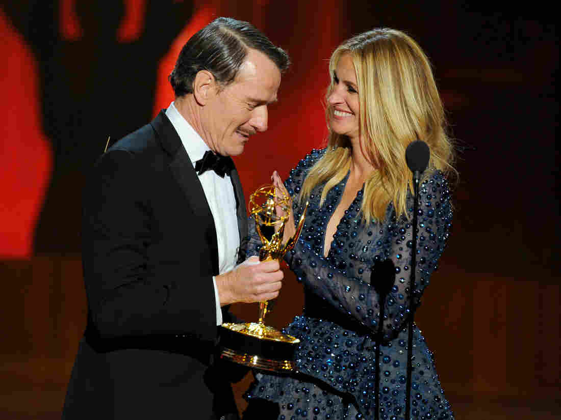 Julia Roberts presents Bryan Cranston with the award for outstanding lead actor in a drama series for his work in Breaking Bad.