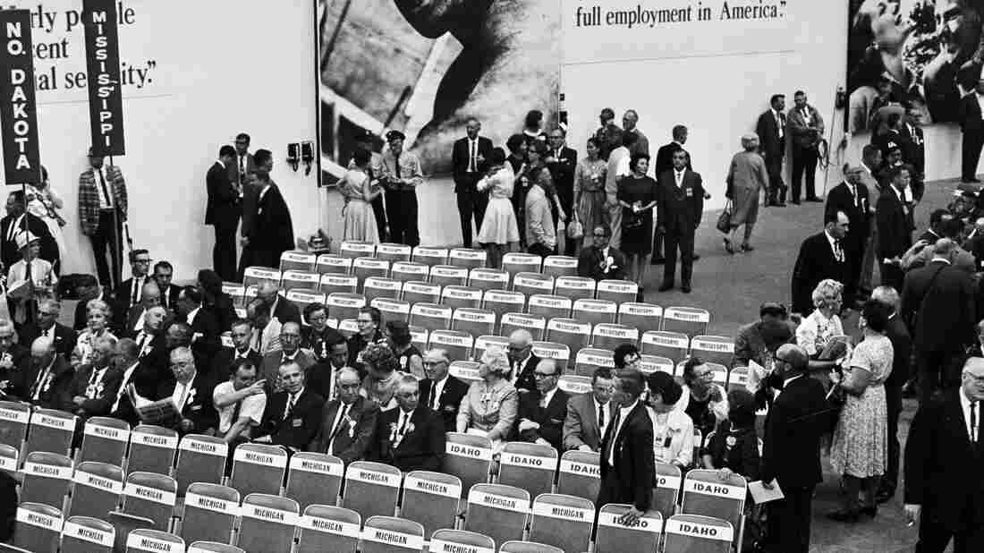 Seats assigned to Mississippi are empty at the Democratic Convention on Aug. 24, 1964. Two competing delegations were assigned spectator status for the opening session when the credentials committee was unable to decide which delegation to accredit.