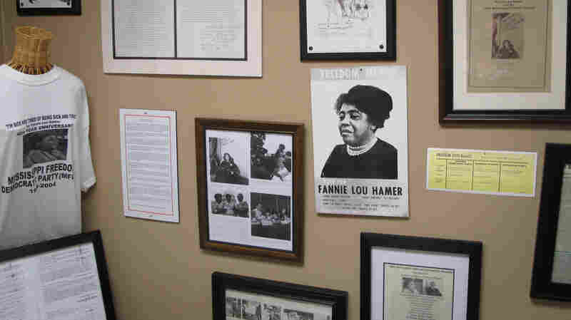 A congressional campaign poster hangs on the the wall at the Fannie Lou Hamer museum and memorial garden in Ruleville, Miss.