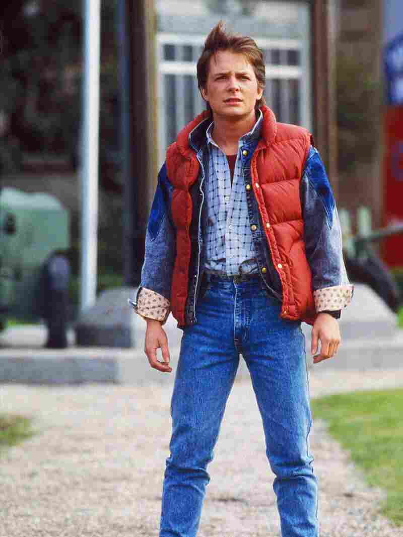 Michael J. Fox and his vest in the 1985 movie Back to the Future.