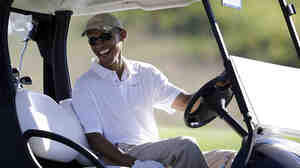 Commentator Frank Deford advises the White House press office not to let the president be photographed in a golf cart again.