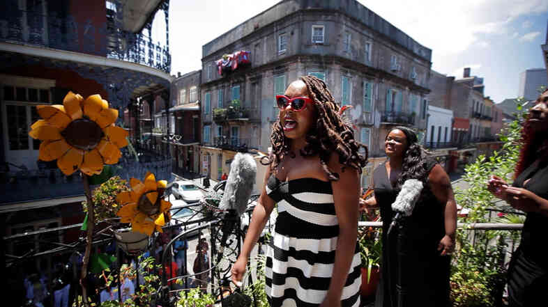 Ledisi performs on a balcony in the French Quarter in New Orleans, Louisiana