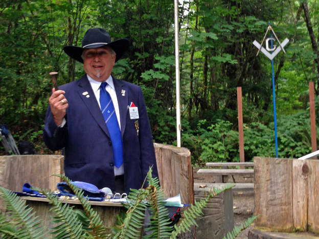 Sam Roberts, most worshipful grand master of Washington state, during a break at an outdoor ceremony. His wife, Vicky, says she doesn't mind that women can't participate in the Masons' ceremonies.