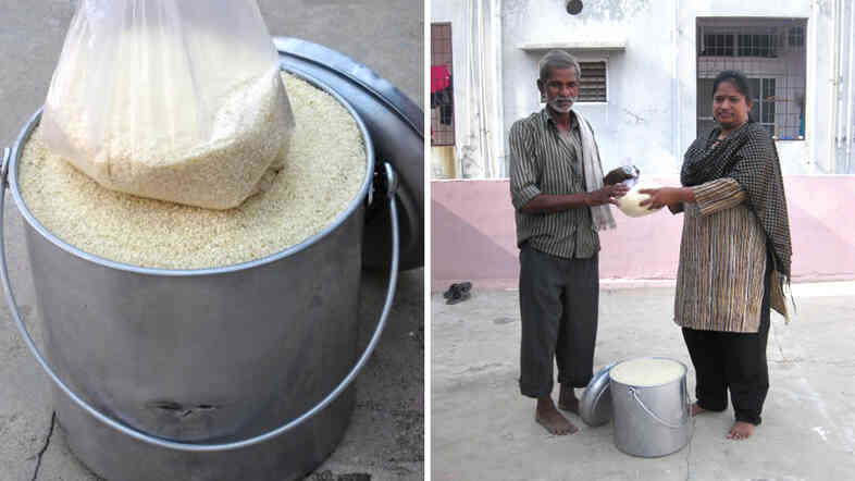 Rice is just as nice as ice when it comes to bucket challenges. Right: Manju Latha Kalanidhi, inventor of the Rice Bucket Challenge, gives grains to a hard-working neighbor.