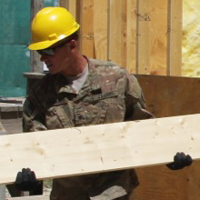 Barracks, or B-Huts, are torn down by soldiers from the 304th Engineers at Bagram Airfield.