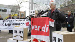 Nancy Becker, an Amazon employee in Bad Hersfeld, Germany, speaks at a protest rally outside the company's headquarters in Seattle in December.