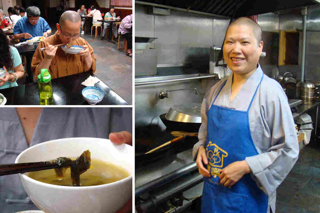 Every Sunday, the nuns at a Buddhist temple in Manhattan's Chinatown cook free vegetarian meals for the congregation. Jingyi Shi, the temple's abbess (right), lends a hand.