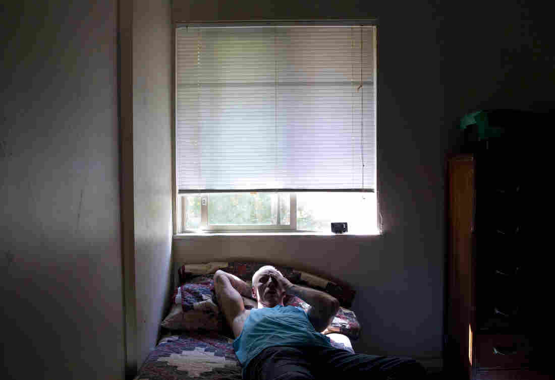 Dan Huff rests after a long day's work. He spent much of his life incarcerated in the California prison system. Now, he lives in drug- and alcohol-free transitional housing in Portland, Ore.
