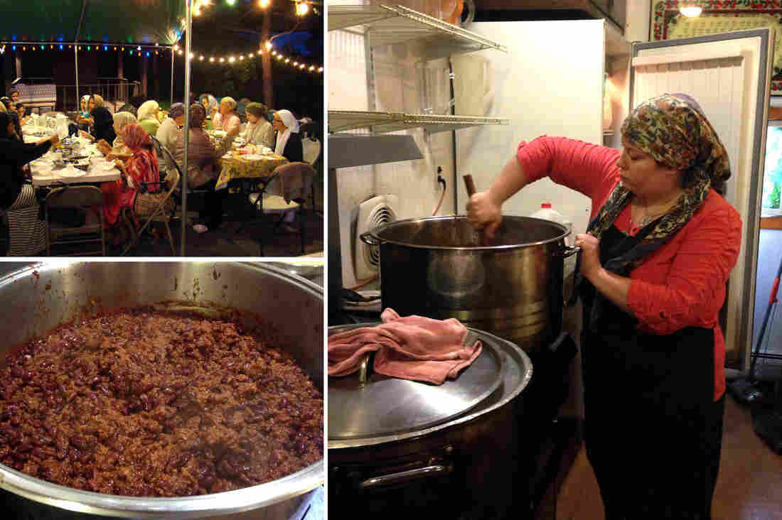Jennette Morgan (right) stirs the American-style chili she serves at the iftar meal to break the fast of Ramadan at a Sufi mosque near New York City.