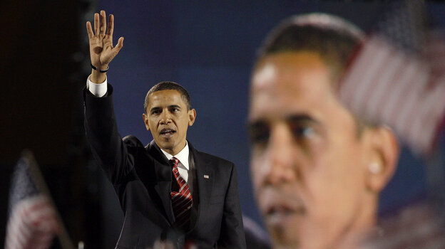 President-elect Barack Obama waves to his supporters after delivering