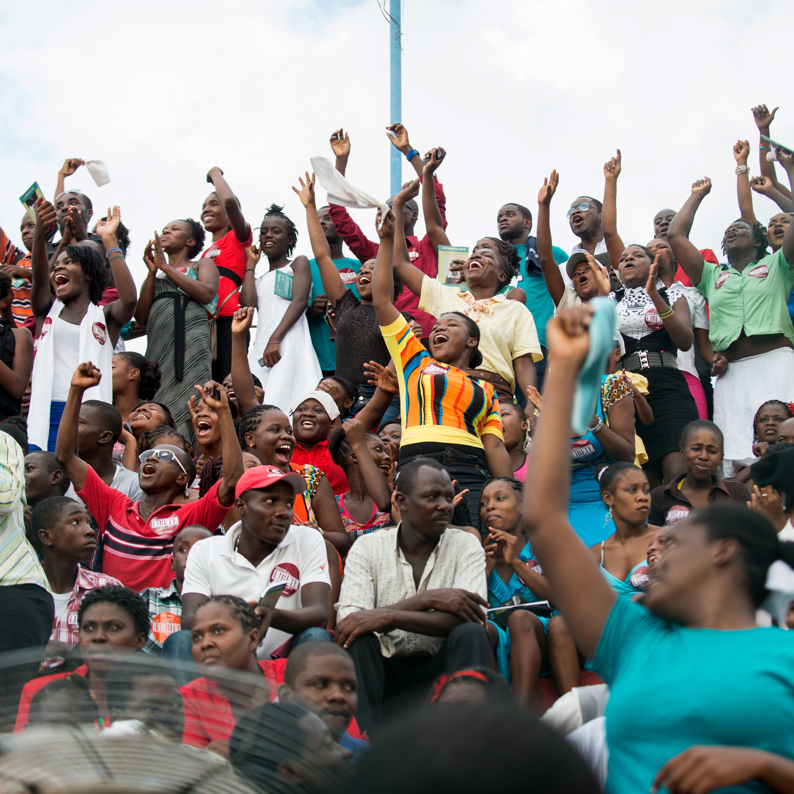 Thousands of Haitians dance and cheer as the finalists sing their songs of child slavery at Port-au-Prince's soccer stadium on Aug. 23.