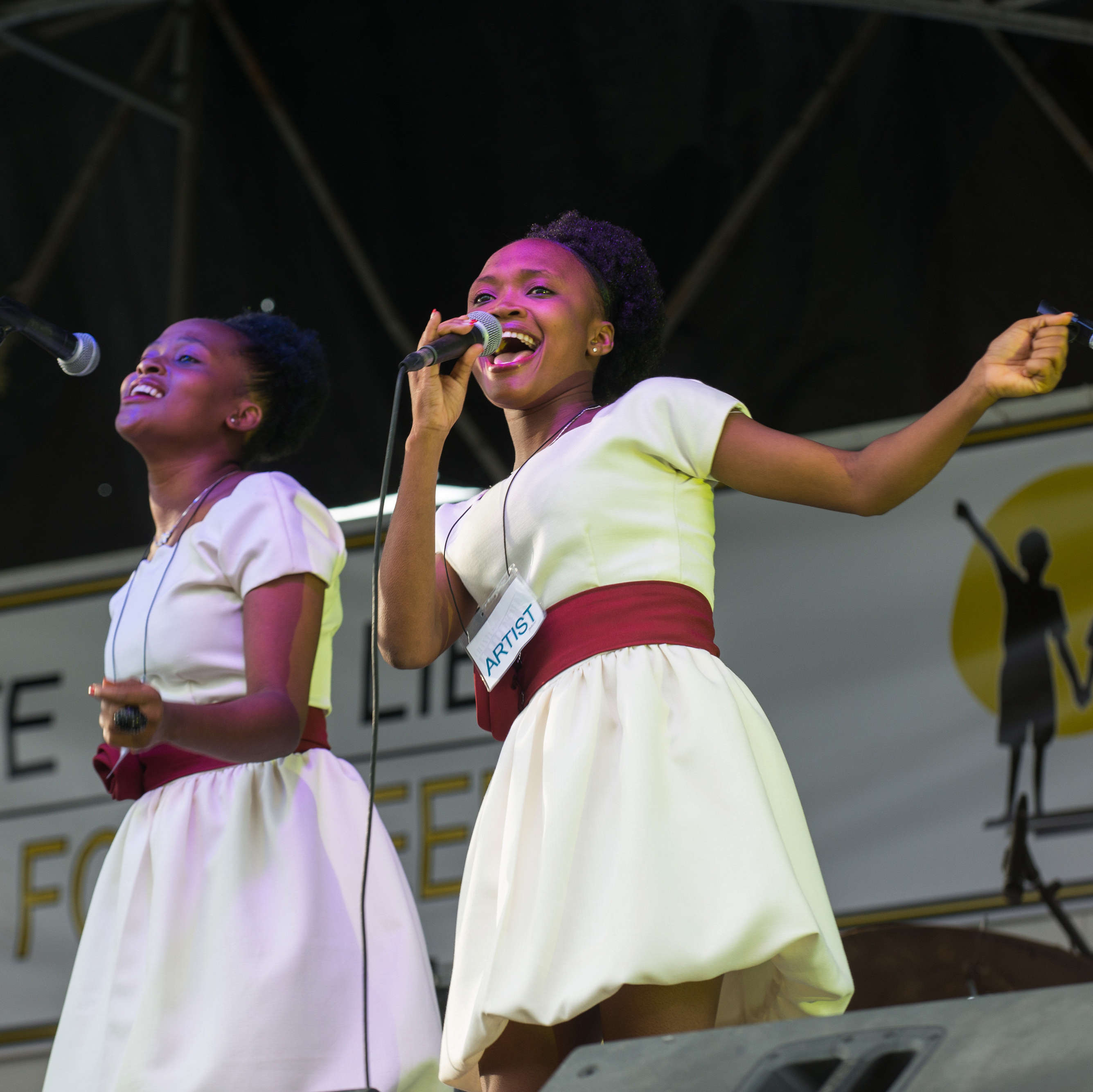 "Frantzita Dede, who's 19, sings ""Let's Help Them"" -- the child slaves of Haiti."