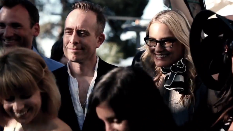 """Ted Leo and Aimee Mann as The Both, in a scene from their new video for the song """"Volunteers Of America."""""""
