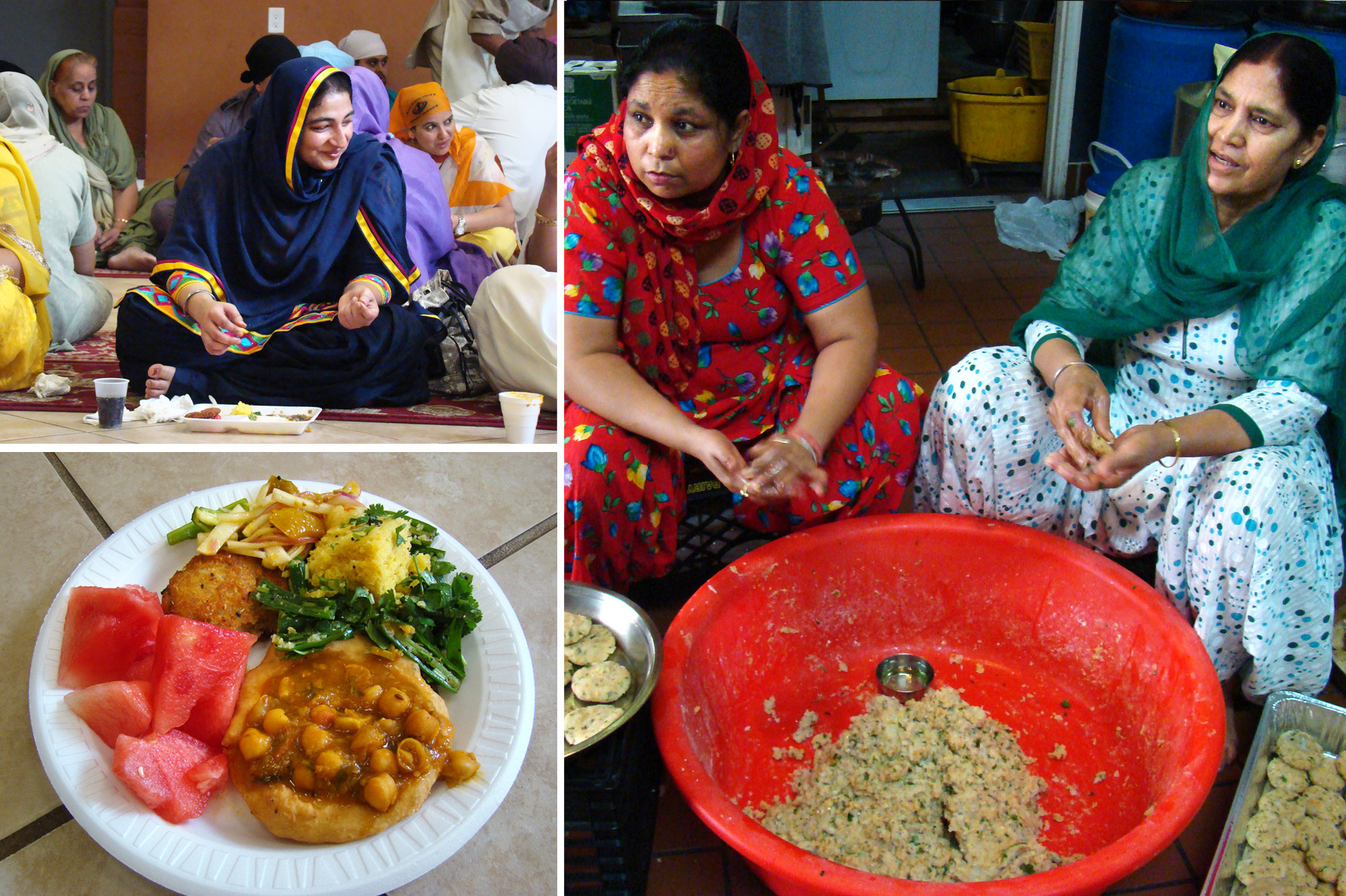 Women preparing and eating langar, a free meal served after the service at a Sikh Gurudwara in Jersey City on Sundays. This one includes chickpeas in gravy, aloo tikki (potato patties), salad, lentils and fruit. Traditionally, everyone eats side-by-side on the floor to symbolize equality.