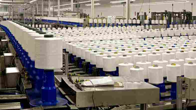 Unifi makes Repreve, a thread that comes from plastic waste bottles and leftover polyester scraps, at its Yadkinville, N.C., facility.