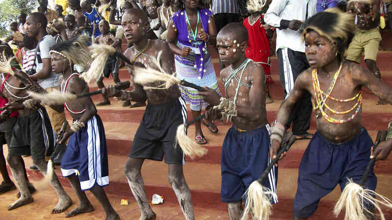 Boys from Kenya's Bukusu tribe participate in a ceremony to mark the circumcision ritual. Tribal elders do the surgery with homemade knives and without anesthesia.