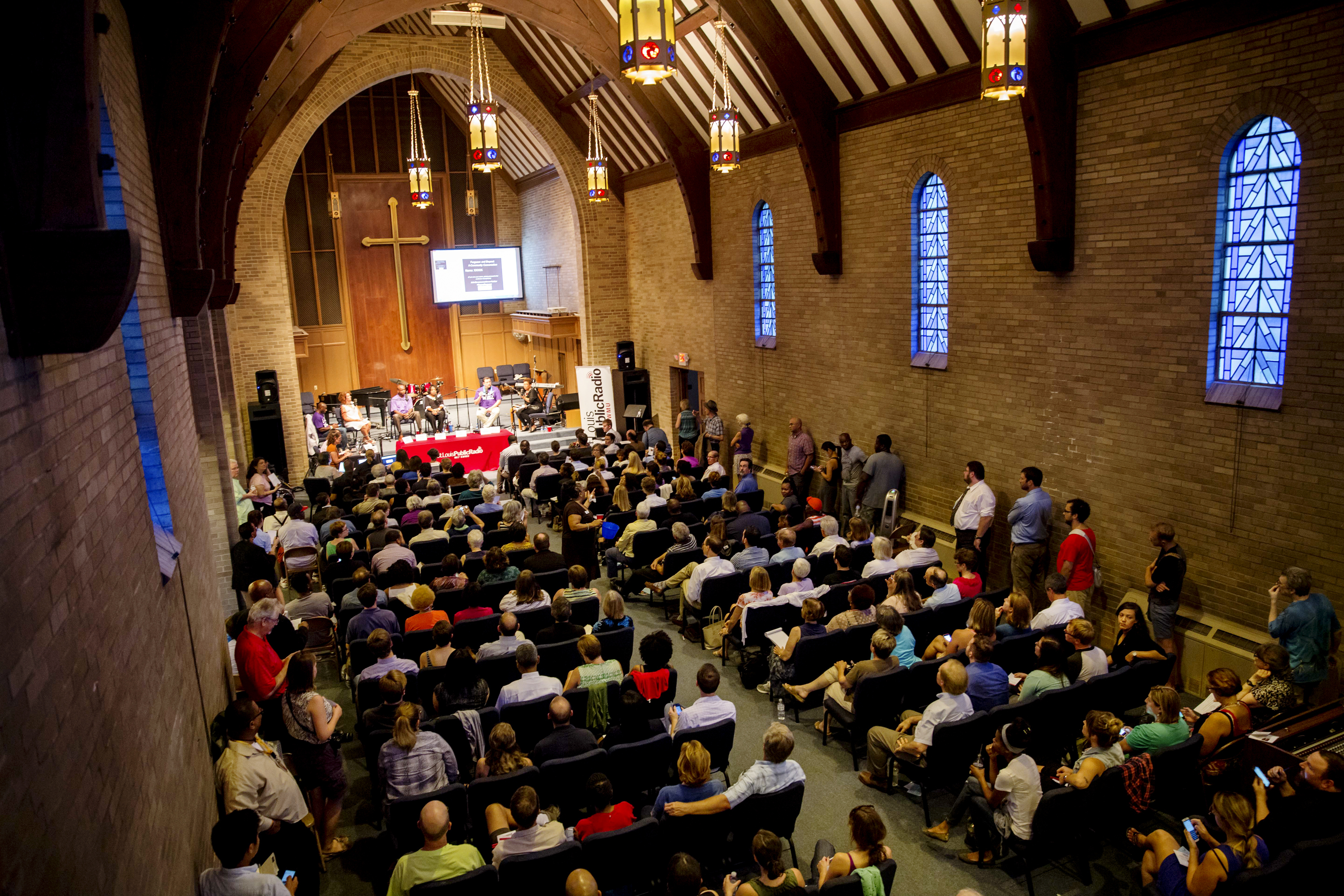 The conversation drew about 200 people to the Wellspring Church. Over the course of two hours, many members of the audience shared similar reactions to problems in Ferguson.