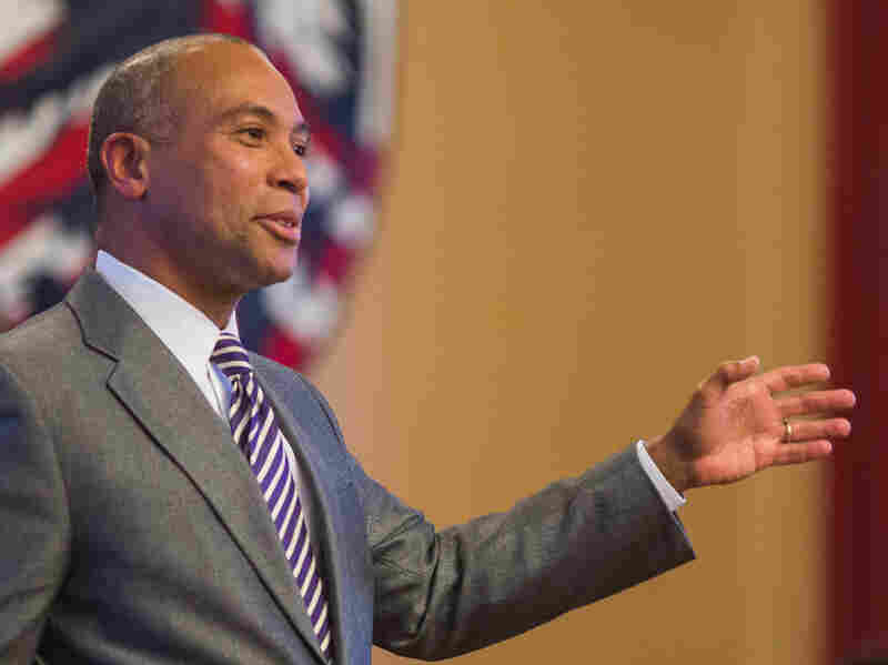 Gov. Deval Patrick offers remarks to Harvard Democrats in Cambridge, focusing on community engagement and generational responsibility on April 28.