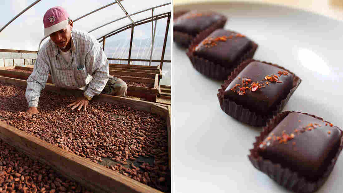 At left, Constante Dace, a worker at Dole Food Co., stirs cocoa beans at the company's Waialua coffee and cocoa farm in Hawaii. At right, Ghost Chile chocolates from Seattle's Theo Chocolate.