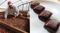 (Left) Constante Dace, a worker at Dole Food Company, stirs cocoa beans at the company's Waialua coffee and cocoa farm  in Hawaii. (Right) Theo Ghost Chili Pepper chocolates from Theo Chocolates.