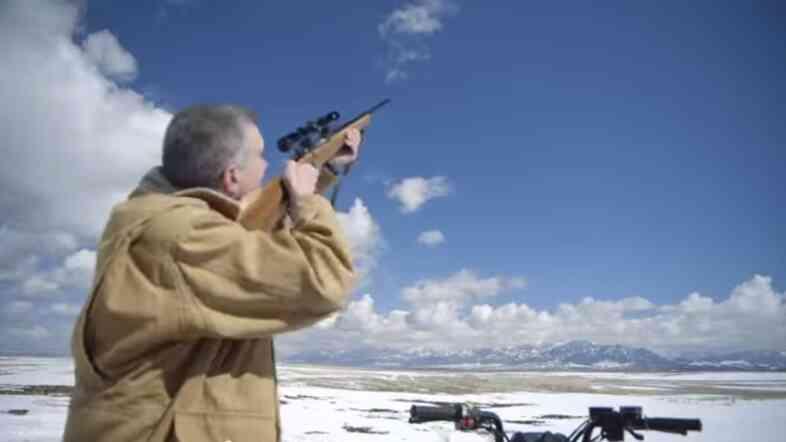 Image from Montana congressional hopeful Matt Rosendale's campaign ad, in which he shoots what he calls a government drone out of the sky.