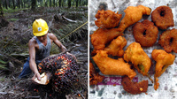 (Left) An Indonesian farmer harvesting palm oil near Tesso Nilo National Park, Indonesia. (Right) Onion pakoras made with palm oil in India.