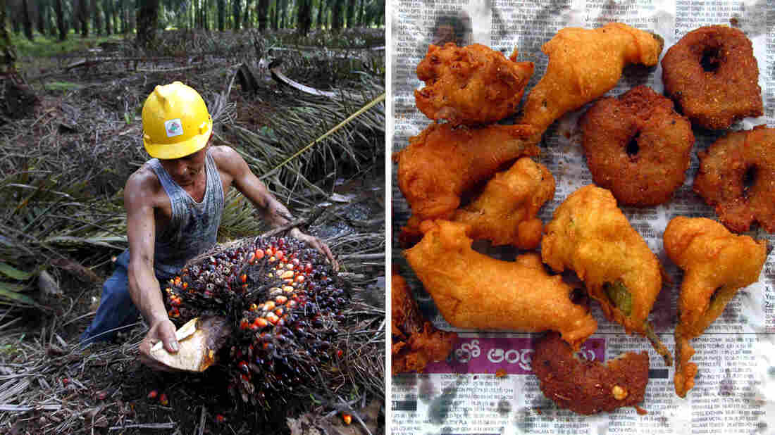 At left, an Indonesian farmer harvests palm oil near Tesso Nilo National Park, Indonesia. At right, onion pakoras made with palm oil in India.