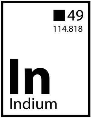 "Demockratees T-shirt design showing the element Indium (play on the word Indian) with the atomic number 49. Coincidentally, Red Corn says, ""49""s are a colloquial name for Indian after-parties with singing and dancing."