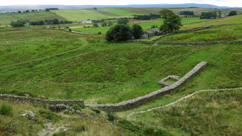 Hadrian's Wall marks the Roman Empire's northernmost boundary, and at one point is less than a mile from today's border between England and Scotland.
