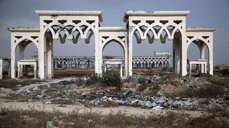 The destroyed and deserted main gate of the Gaza international airport in the southern city of R